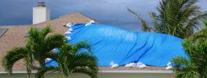 tarp on storm damaged roof