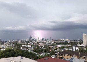 storm over Brisbane city buildings
